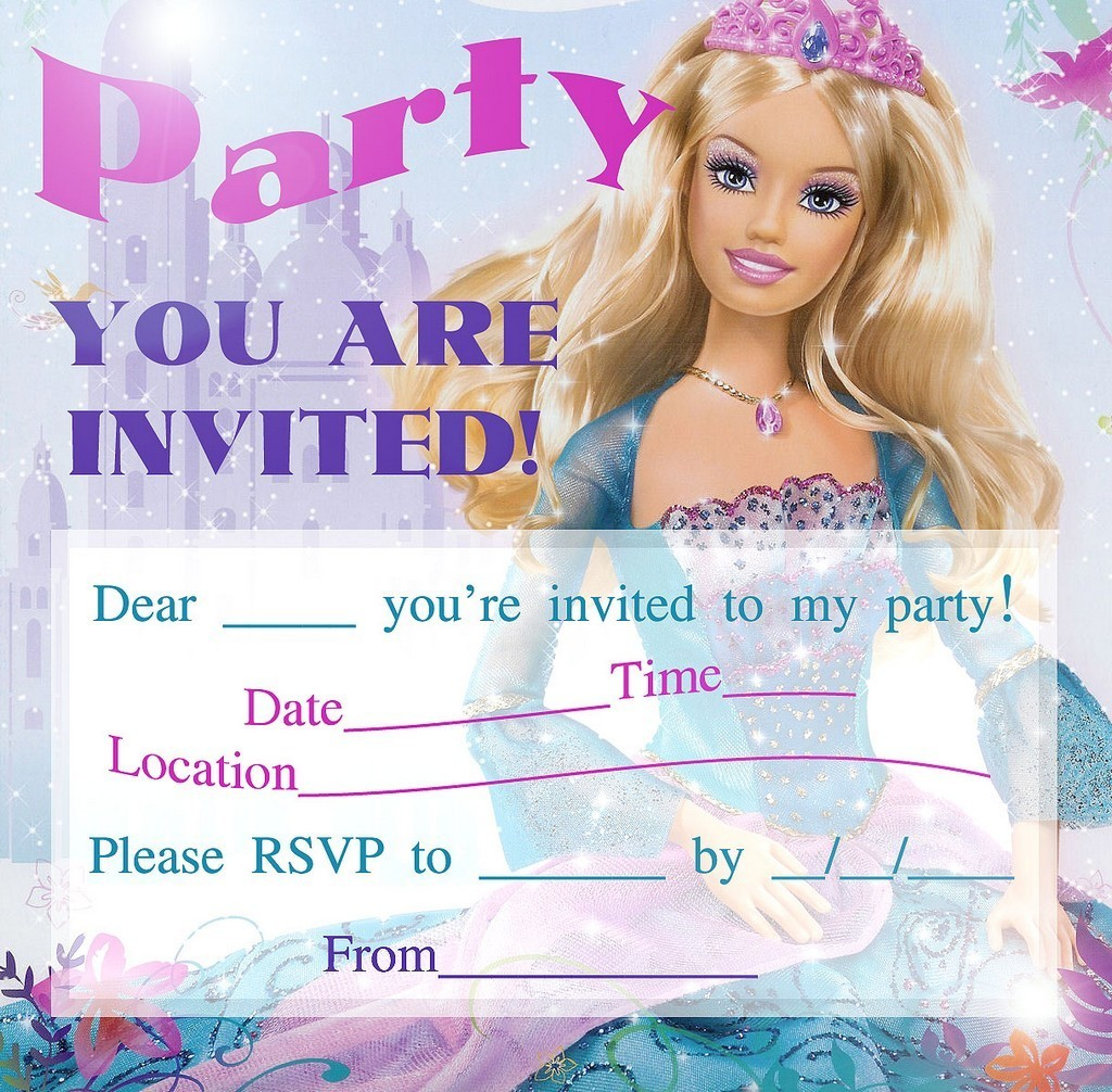 barbie for birthdays printable invitations a party