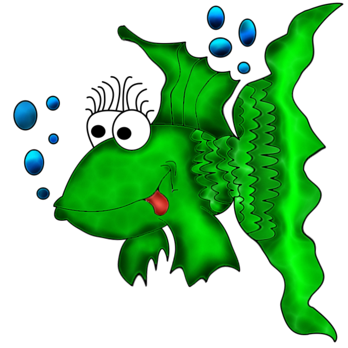 green cartoon fish
