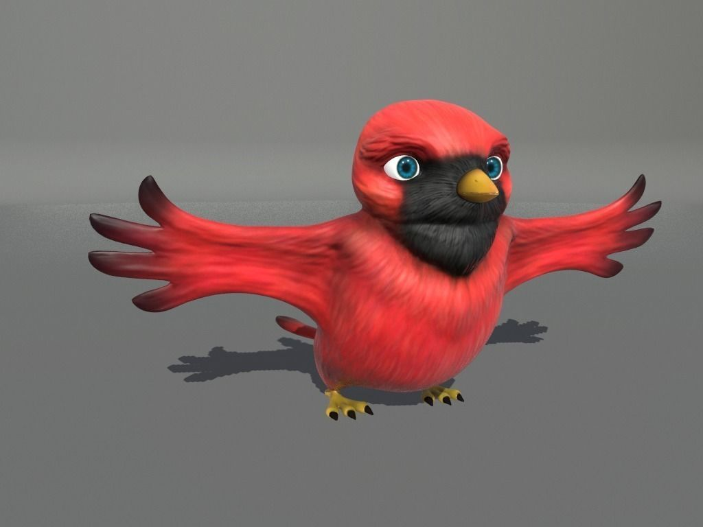 002 cardinal-cartoon-bird-3d-model-low-poly-obj-fbx-dae-mtl