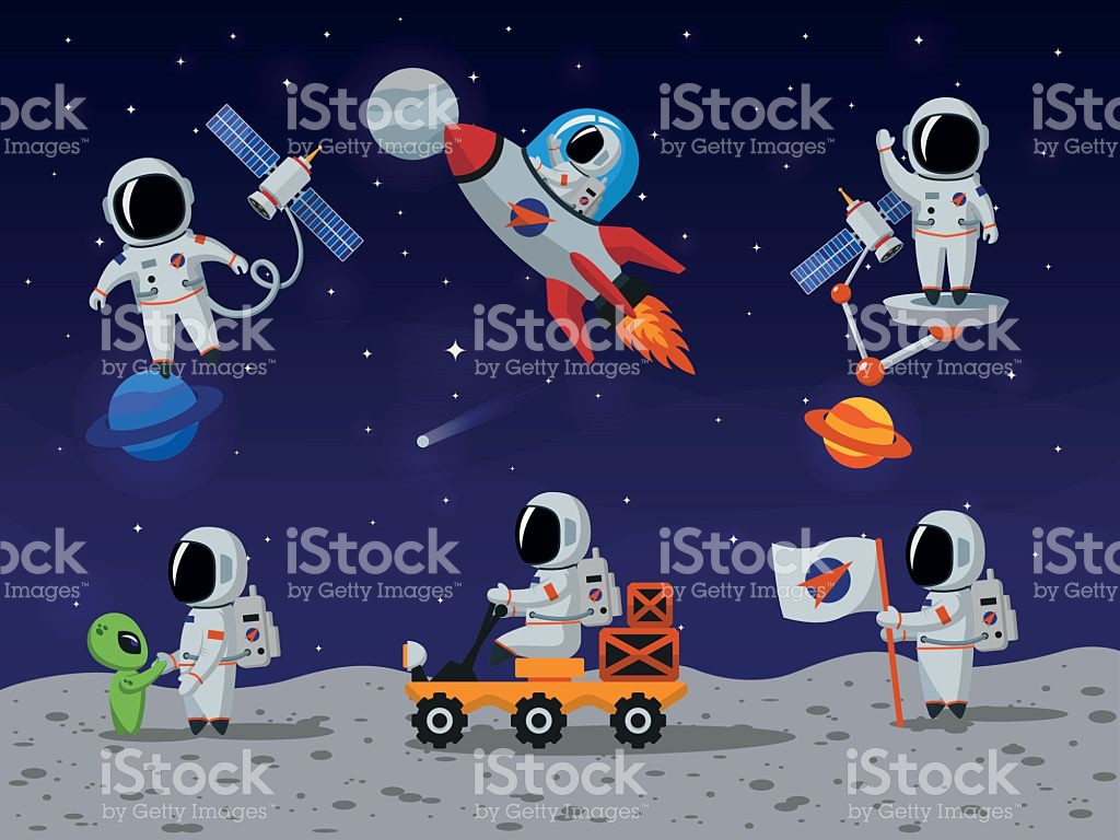 astronauts-vector-characters-set-in-flat-cartoon-style-vector-id534308516