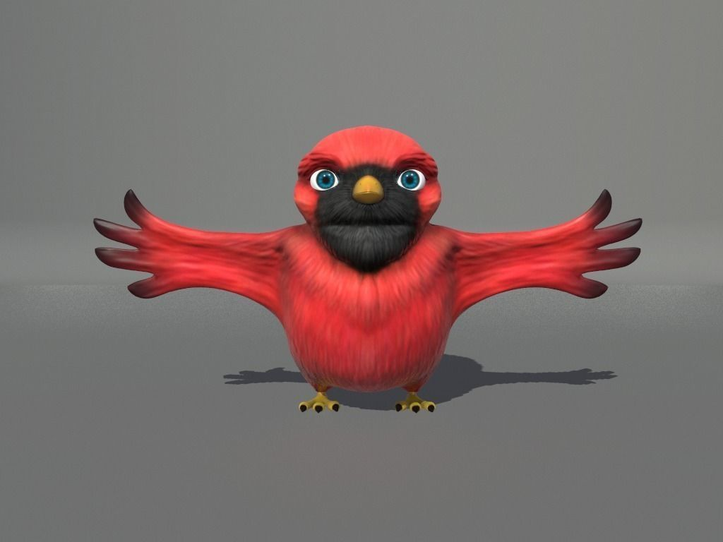 cardinal-cartoon-bird-3d-model-low-poly-obj-fbx-dae-mtl