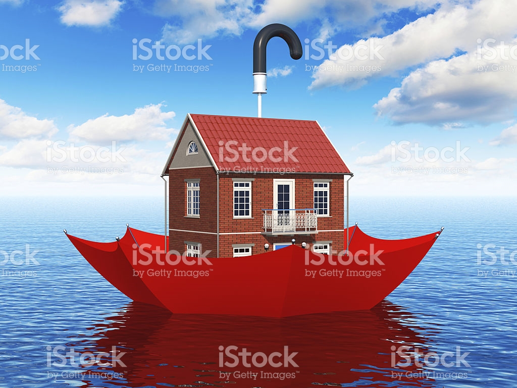 cartoon-of-a-house-inside-an-umbrella-floating-in-the-sea-picture-id179641967