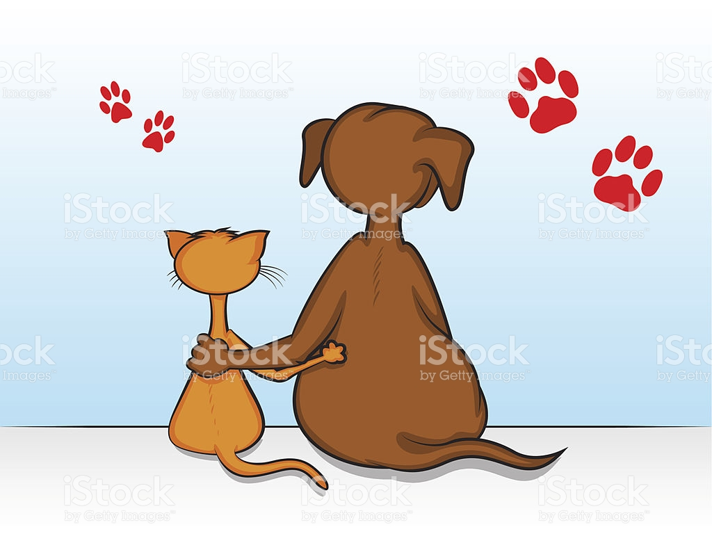 cartoon-showing-dog-and-cat-with-arms-around-each-other-vector-id187841875