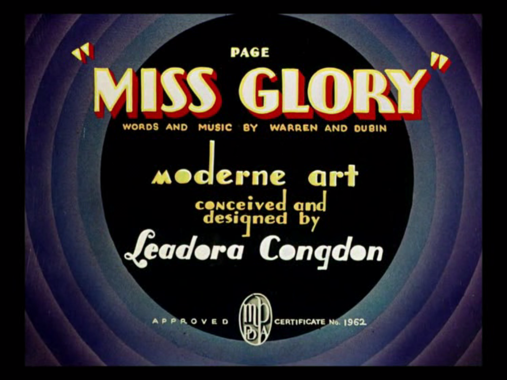 Page Miss Glory cartoon title card